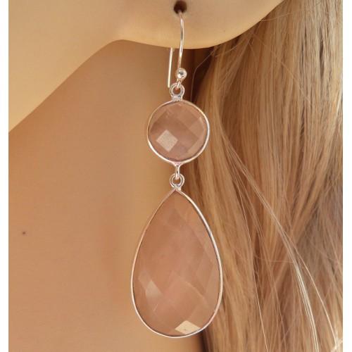 Zilveren oorbellen met facet ronde en druppelvorm Rozenkwarts