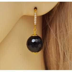 Vergulde oorbellen met zwarte Onyx