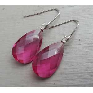 Zilveren oorbellen met roze Toermalijn quartz briolet