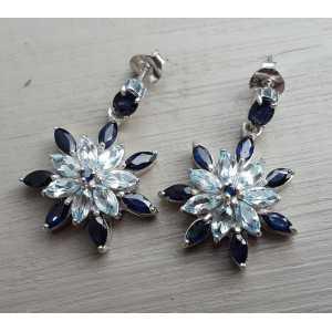 Silber-Ohrringe mit blauen Topas und Saphire