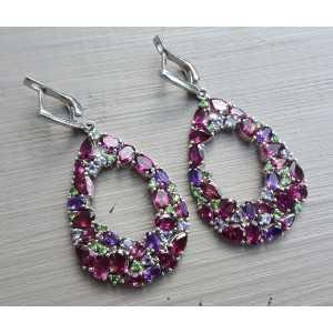 Silver earrings Rhodoliet and green Garnet, Tanzaniet, Amethyst