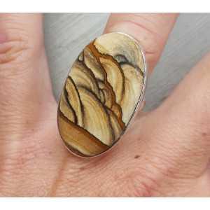 Silber ring set mit ovalen Landschaft-Jaspis 17 mm