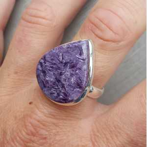 Silber ring set mit teardrop Charoiet 18.5