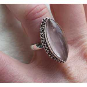 Silver ring set with marquise rose quartz 17.3 mm