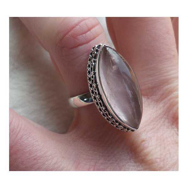 Silber ring set mit marquise Rosenquarz 17.3 mm