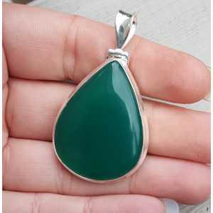 Zilveren edelsteen hanger gezet met druppelvorm groene Onyx