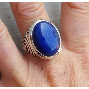 Zilveren ring gezet met Lapis Lazuli (mannen ring) 20.5 mm