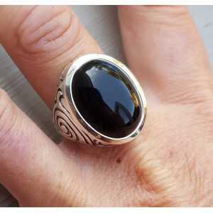 Zilveren ring gezet met Onyx (mannen ring) 20.5 of 21.5