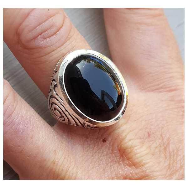 Silver ring set with Onyx (men ring) 20.5 or 21.5