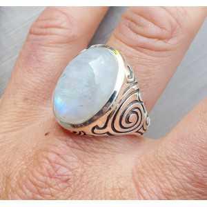 Zilveren ring gezet met Maansteen (mannen ring) 20.5