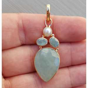 Rosé gold-plated pendant set with Aquamarine and Pearl