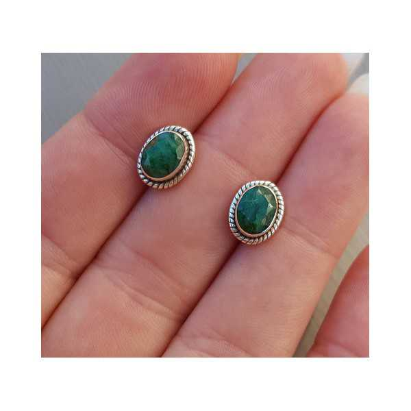 Silber oorknoppen set mit facettiertem Smaragd