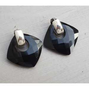 Kreolen mit quadratischem schwarzen Onyx-Anhänger