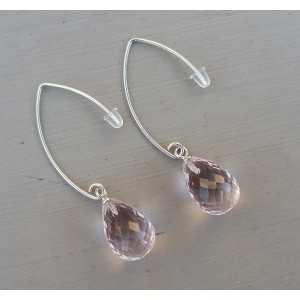 Silber Ohrringe mit rosa Quarz Tropfen