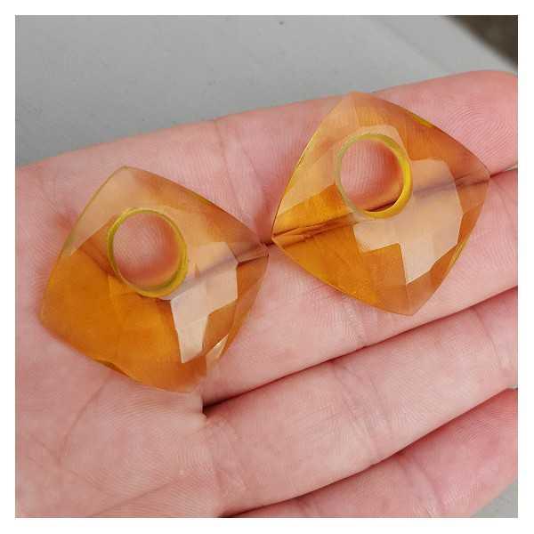 Creole pendant set, square Citrine quartz