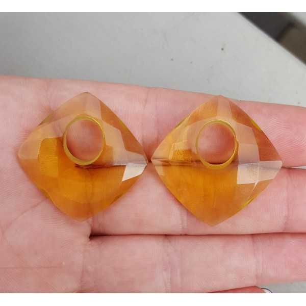 Creool hanger set vierkante Citrien quartz