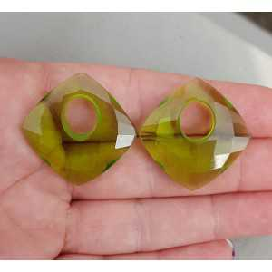 Creole pendant set square Peridot quartz