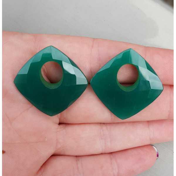 Creool hanger set vierkante groene Onyx