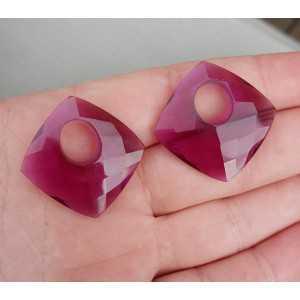 Creool hanger set vierkante Amethist quartz