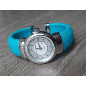 Silver watch / bracelet of Turquoise Roggenleer