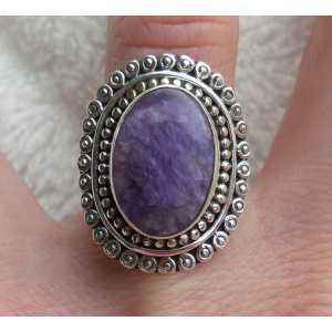 Silber ring set mit Charoiet und bearbeiteten Kopf 17 mm