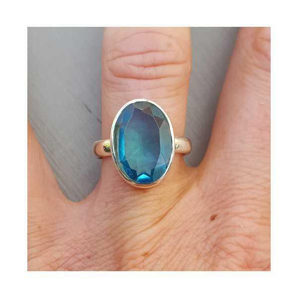 Silber ring set mit ovalen blauen Topas 17 oder 18,5 mm