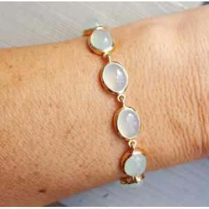 Rosé vergulde armband met ovale cabochon aqua Chalcedoon