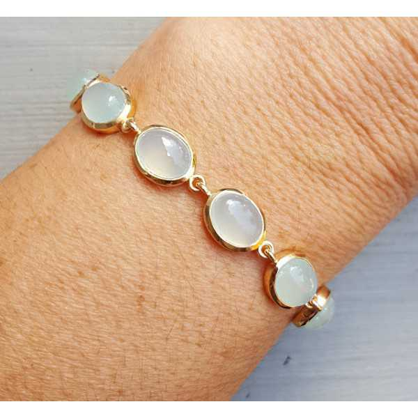 Rosé gold-plated bracelet with oval cabochon aqua Chalcedony