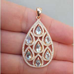 Rosé gold-plated pendant with blue Topaz and Cz