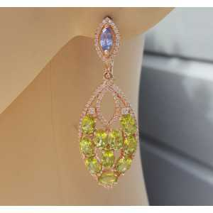 Rosé plated earrings with Tanzaniet and Peridot