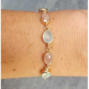 Rosé gold-plated bracelet set with Chalcedony and peach Moonstone