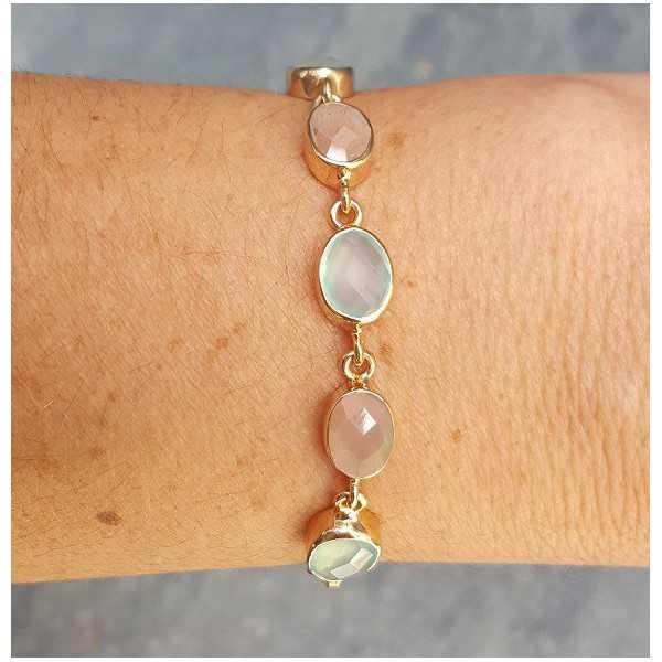 Rosé vergoldete Armband mit Chalcedon und Pfirsich Mondstein