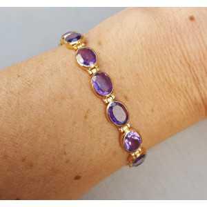 Rosé gold-plated bracelet set with facet Amethisten