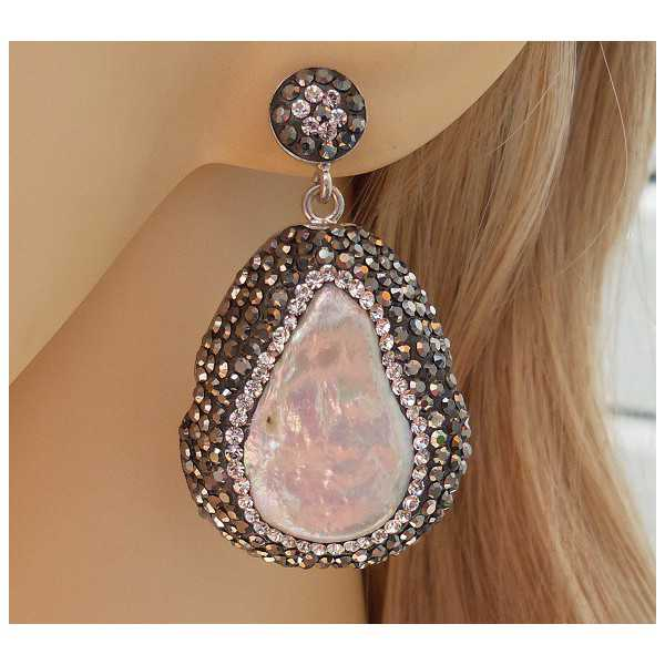 Silber Ohrringe-set mit Perle und Swarovski-Kristalle
