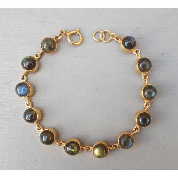 Rosé gold-plated bracelet set with round cabochon Labradorite