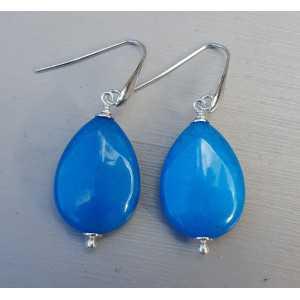 Oorbellen met gladde Oceaan blauwe Jade briolet