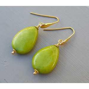 Oorbellen met gladde appeltjes groene Jade briolet