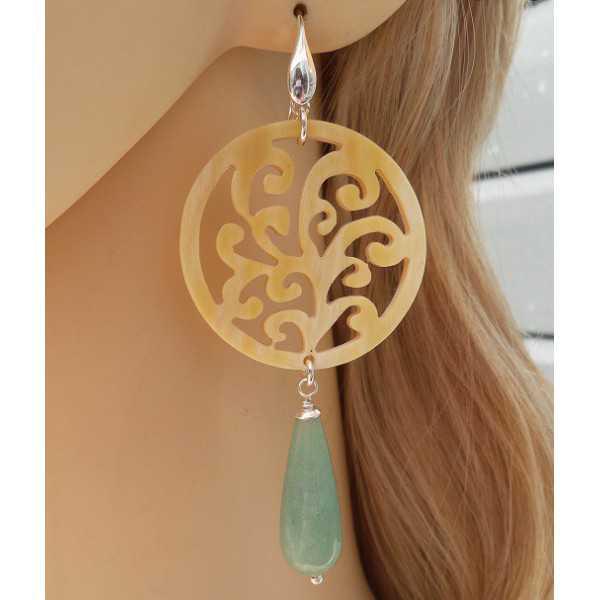 Silber Ohrringe mit geschnitzten Horn und Aventurin