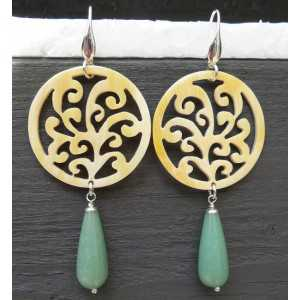Silver earrings with carved Horn and Aventurine