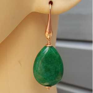 Oorbellen met gladde Emerald groene Jade briolet