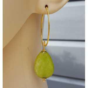 Oorbellen met gladde appeltjes groene Jade