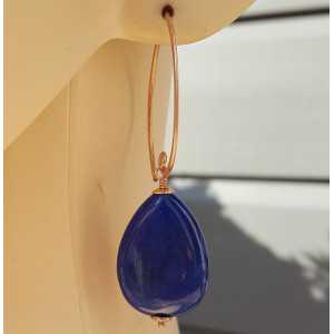 Ohrringe mit glatten blue Jade