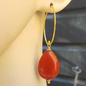 Oorbellen met gladde oranje rode Jade