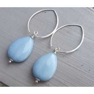 Ohrringe mit glatten light blue Jade