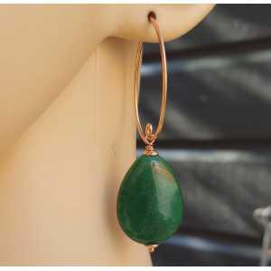 Oorbellen met gladde groene Jade