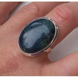 Zilveren ring met ovale Vivianiet maat 18.5 mm