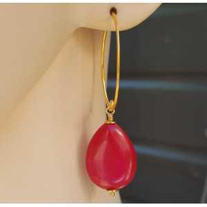Ohrringe mit glatten fuchsia-pink-Jade