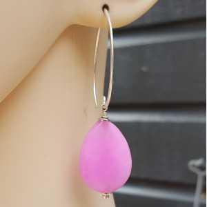 Ohrringe mit facettierte rosa Jade