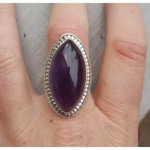 Silber ring set mit großen marquise Amethyst 18 mm