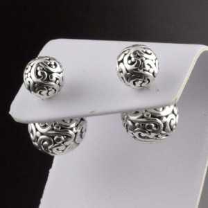 Zilveren oorbellen dubbele bol